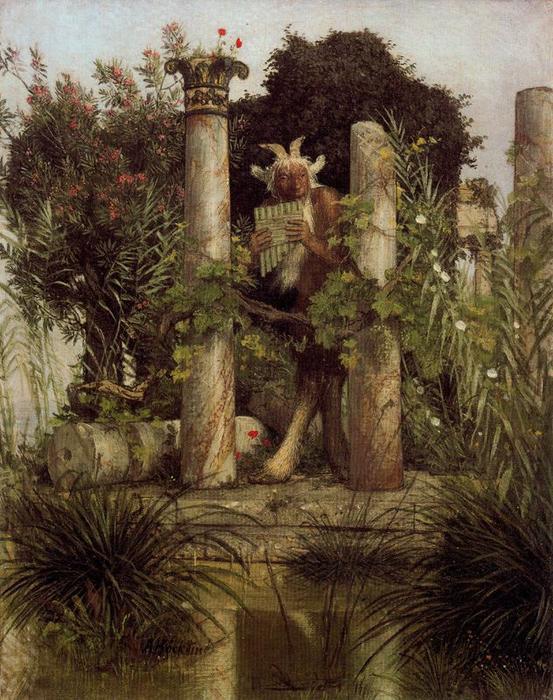 Pan var i gresk mytologi en gud (daimon) som ble assosiert med skogen og begjæret. Opprinnelig var Pan en lokal naturgud i Arkadia på Peloponnes, men ettersom hans navn på gresk betyr «Alt» fikk hans kult spredning til over hele Hellas. Pan blir ofte uttrykt som en mann med små ben og klovene til en bukk. Han synes å tilbringe tiden med å lure i skogen, spille på sin panfløyte. Han har et fryktelig temperament og raseri, og kan slå mennesker og dyr med panisk skrekk (fra Wikipedia).
