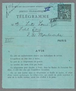 Telegram sendt mai 1895 til Lulli Lous på Hotel Doré, 3 Bo. Montmartre - rett før Hamsun forlater Paris for godt.